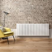 New & Boxed 600x1368mm Gloss White Double Flat Panel Horizontal Radiator. Rrp £699.99.Rc224.En...