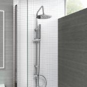 New & Boxed Modern Chrome Riser Rail Mixer Round Shower Head Kit For Bath Tap. Sp5105.Chrome Ef...