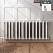 New (S11) 600 x 1410mm White Double Panel Horizontal Colosseum Traditional Radiator. RRP £552....