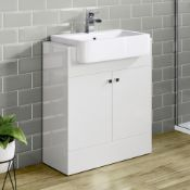 New & Boxed 660mm Harper Gloss White Sink Vanity Unit - Floor Standing. RRP £749.99.Comes Com...