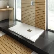 (O109) 1200 x 800mm Rectangular White Slate Effect Shower Tray & Chrome Waste. RRP £499.99. Ha...