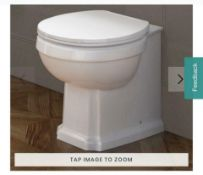 NEW & BOXED Cambridge Traditional Back to Wall Toilet & White Seat. CCG629BWP.Traditional feat...