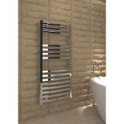 New (S66) Kudo x Verna Designer Towel Radiator 1100 x 500mm Chrome 1420BTU. High Quality, Chro...