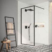 New (R53) 1200mm -8mm- Designer Black Framed Wetroom Panel. The Framed Beauty That Is The Bla...
