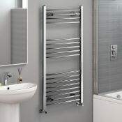 1200x600mm - 20mm Tubes - Chrome Curved Rail Ladder Towel Radiator.Nc1200600.Made From Chrome P...