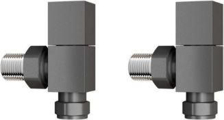 New & Boxed 15 mm Standard Connection Square Angled Anthracite Radiator Valves. Ra03A. Compli...