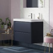 New (U3) Lambra 600mm 2 Drawer Wall Hung Vanity Unit - Matt Indigo. Rrp £479.99.Comes Complet...