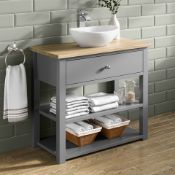 New 800mm Sutton Earl Grey Counter Top Vanity Unit - Open Storage. Rrp £2,249.Mf3000.Sutton C...