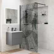 New (W1) 1200mm Black Leaf Wetroom Panel. RRP £676.00. Clear Wet Room Panel With Black Leaf Pa...