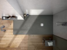 New (W45) 1600x900mm Rectangular Slate Effect Shower Tray In Grey. Manufactured In The Uk From...