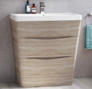 New & Boxed 800mm Austin Ii Light Oak Effect Built In Sink Drawer Unit - Floor Standing. RRP...