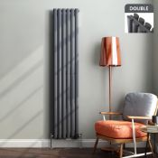 New & Boxed 1800x360mm Anthracite Double Oval Tube Vertical Radiator. RRP £469.99.Sah6/1800Da...