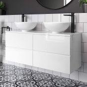 New & Boxed 1200mm Trevia White Gloss Camilla Basin Counter Top Vanity Unit. Mf841.RRP £1,9...