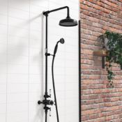 """New & Boxed Black Traditional Thermostatic Exposed Mixer Shower Set. Sp6815B. 8"""" Head + Hands..."""