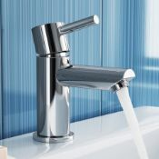 New & Boxed Gladstone Basin Mixer Tap. Tb2013. Chrome Plated Solid Brass Mirror Finish Simple I...