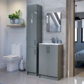 New (Z55) Volta Grey Gloss Floor Standing Tall Unit 300mm. RRP £425.00. The In Trend Grey Sha...