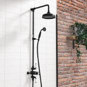 """New & Boxed Black Traditional Thermostatic Exposed Mixer Shower Set. Sp6815B. 8"""" Head + Handse..."""