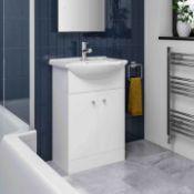 New & Boxed 550mm Quartz Basin Sink Vanity Unit Floor Standing White.RRP £399.99.Comes Compl...
