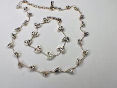 Vintage Napier Teardrop Crystal Silvertone Necklace & Bracelet