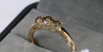 9Ct Gold 3 Stone 'Champagne' Diamond Ring