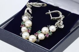 A Pair Of Silver Marcasite, Ruby, Sapphire, Emerald & Pearl Earrings