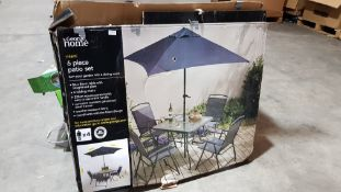 Miami Patio Items : 1 X Tempered glass Square Table, 1 X Black Parasol & 1 X Black Mesh Foldable