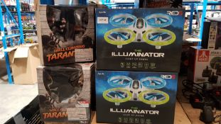 22 Items : 14 X Red5 The Illuminator Light up Drone & 8 X Red 5 RC Wall Climbing Tarantula 22