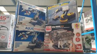 4 Items : 2 X Hydraulic Robot Arm, 1 X Robot arm Wired Control & 1 X Haynes Machine Works V8 Engin 4