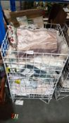 (R4O) Contents Of Cage : A Quantity Of Mixed Dunelm Mill Linen Items To Include Pillow Cases & Cush