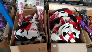 (R4F) Contents Of 2 Boxes : Mixed England Football Items To Include Football Hat, Hand Clapper, Badg