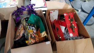 (R4E) Contents Of 2 Boxes : Mixed Lot To Include Santa Hats, Festive Bird Sprays, Tinsel & Make You