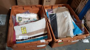 (R4P) Contents Of 2 Containers. A Quantity Of Mixed Dstyle Dunelm Mill Fabric Placemats & Cushion C