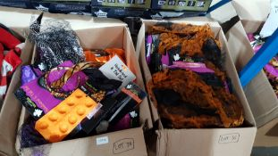 (R4F) Contents Of 2 Boxes : Mixed Halloween Items To Include Dress Up Skirt, Pumpkin Head Ice Cube