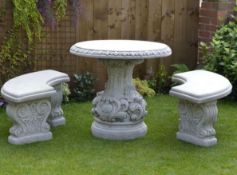 Reconstituted stone / concrete ornate garden table and curved bench set