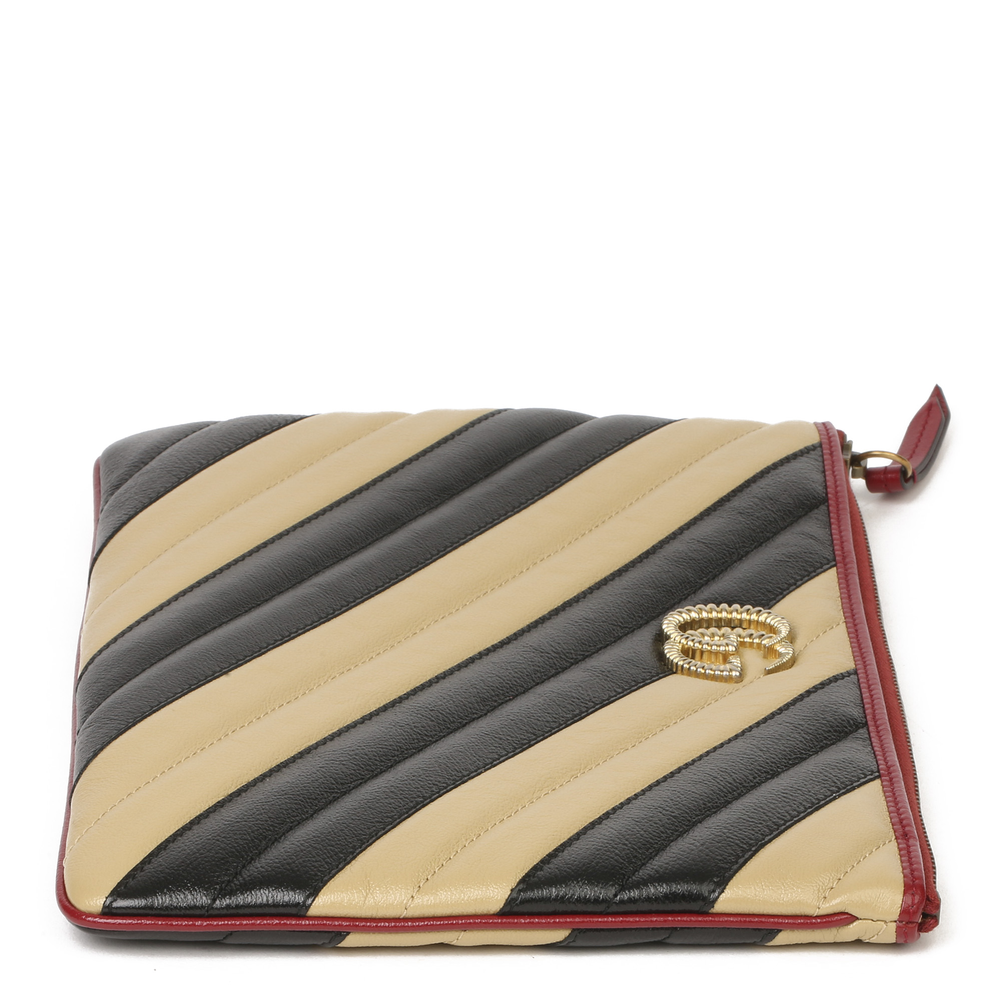 Gucci Black, Cream & Red Diagonal Quilted Aged Calfskin Leather Marmont Pouch - Image 10 of 11