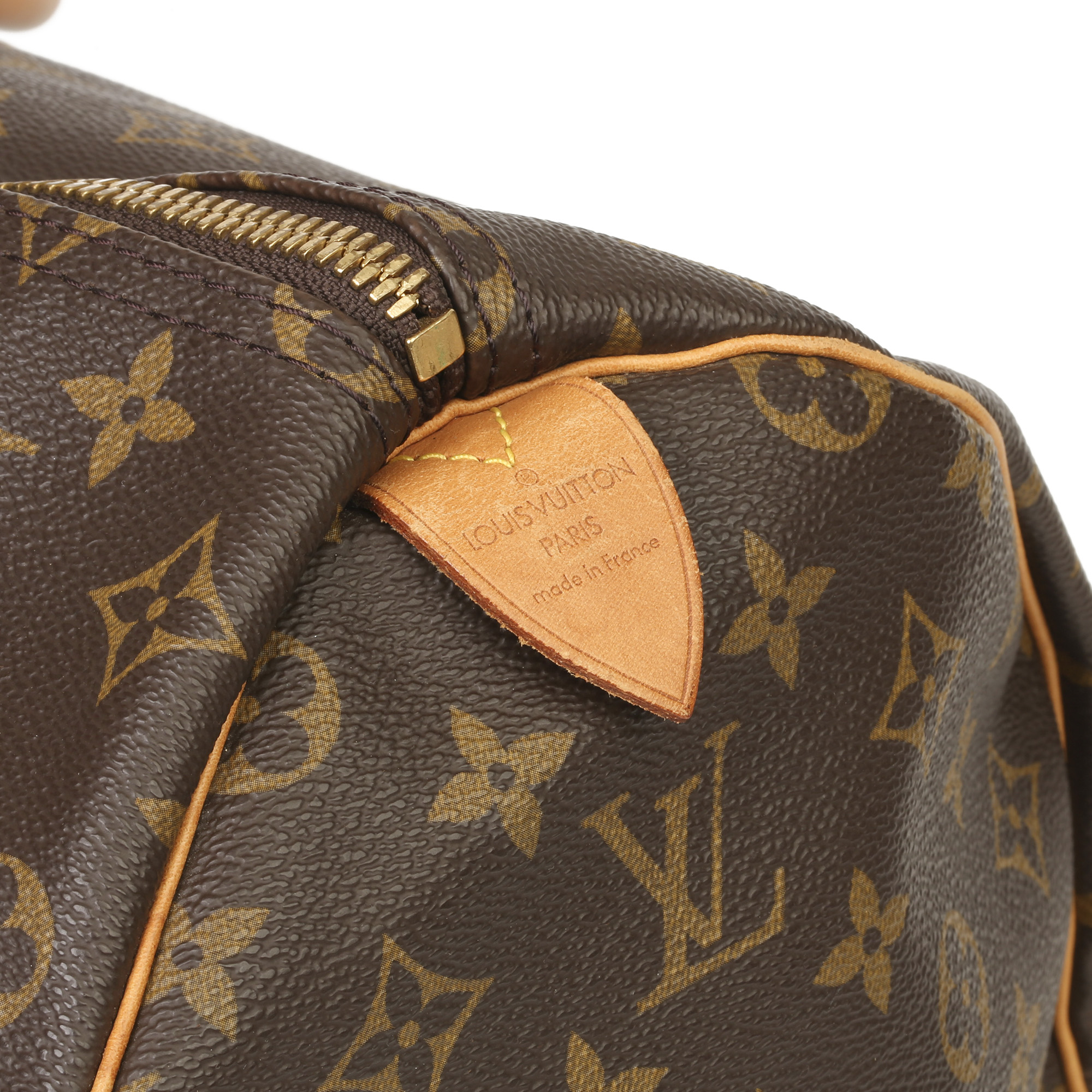 Louis Vuitton Brown Monogram Coated Canvas & Vachetta Leather Vintage Keepall 50 - Image 6 of 11