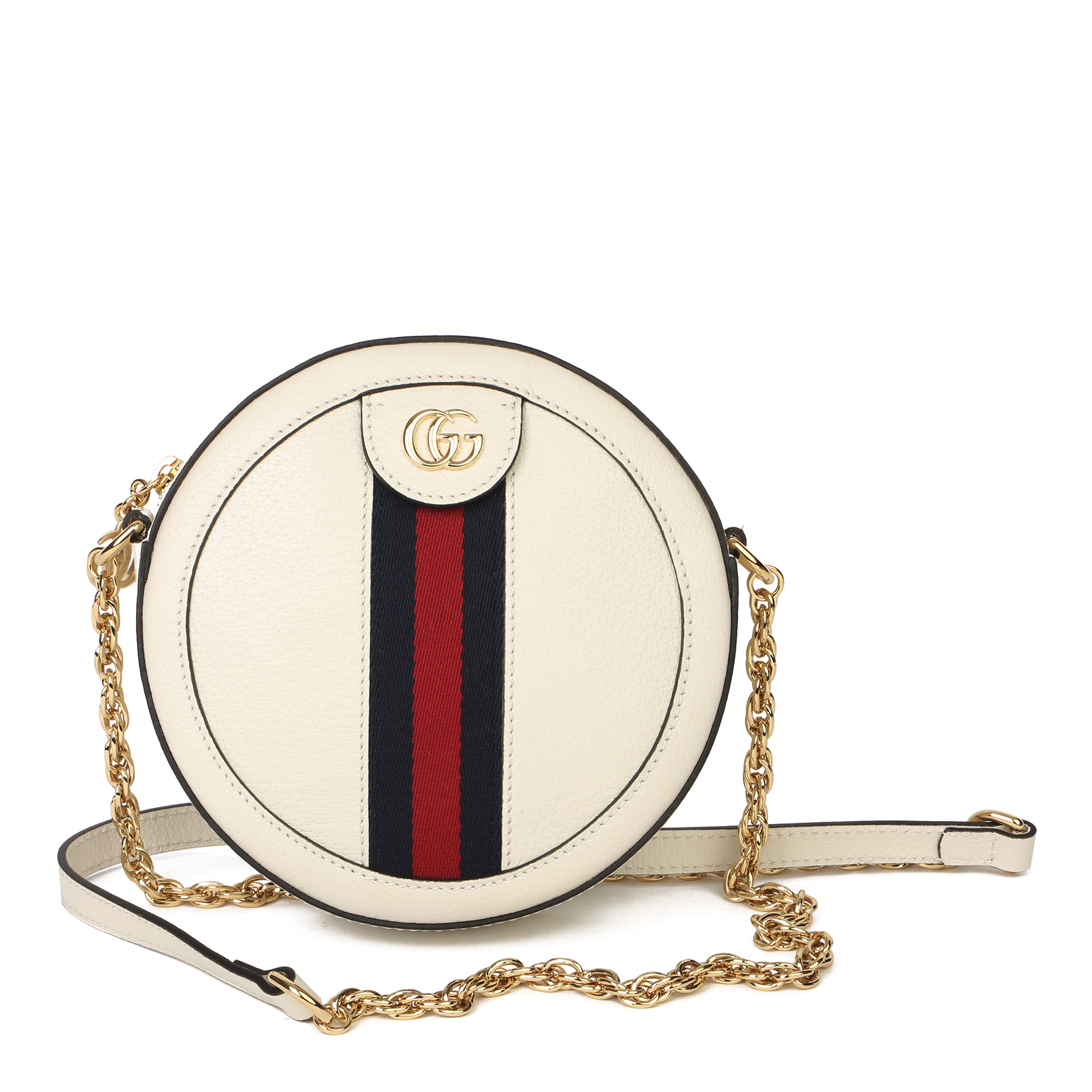 Gucci White Pigskin Leather Web Mini Round Orphidia Shoulder Bag