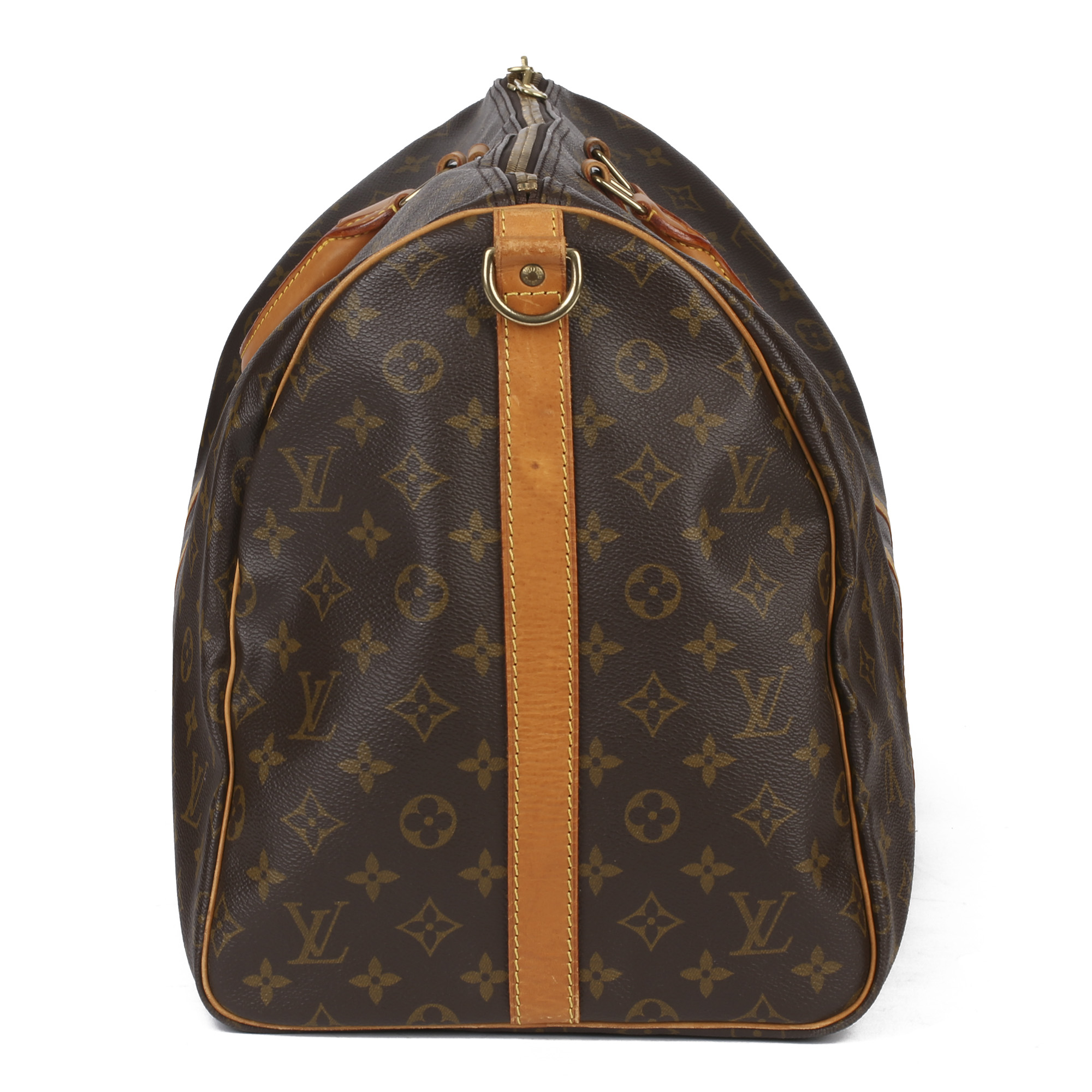 Louis Vuitton Brown Monogram Coated Canvas & Vachetta Leather Vintage Keepall 55 Bandoulire - Image 9 of 10