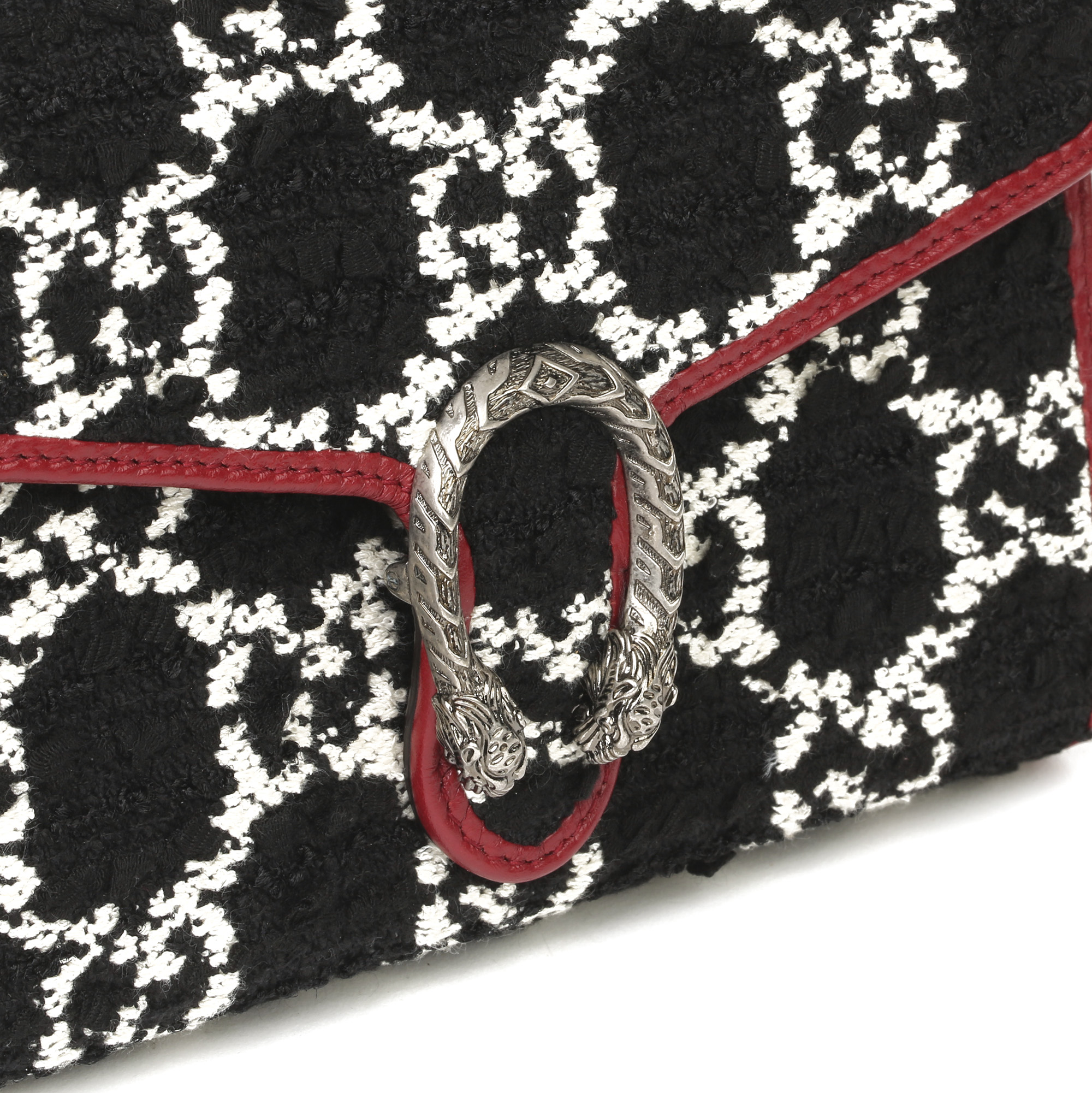 Gucci Red Calfskin & Black, White GG Tweed Dionysus Wallet-on-Chain - Image 7 of 11