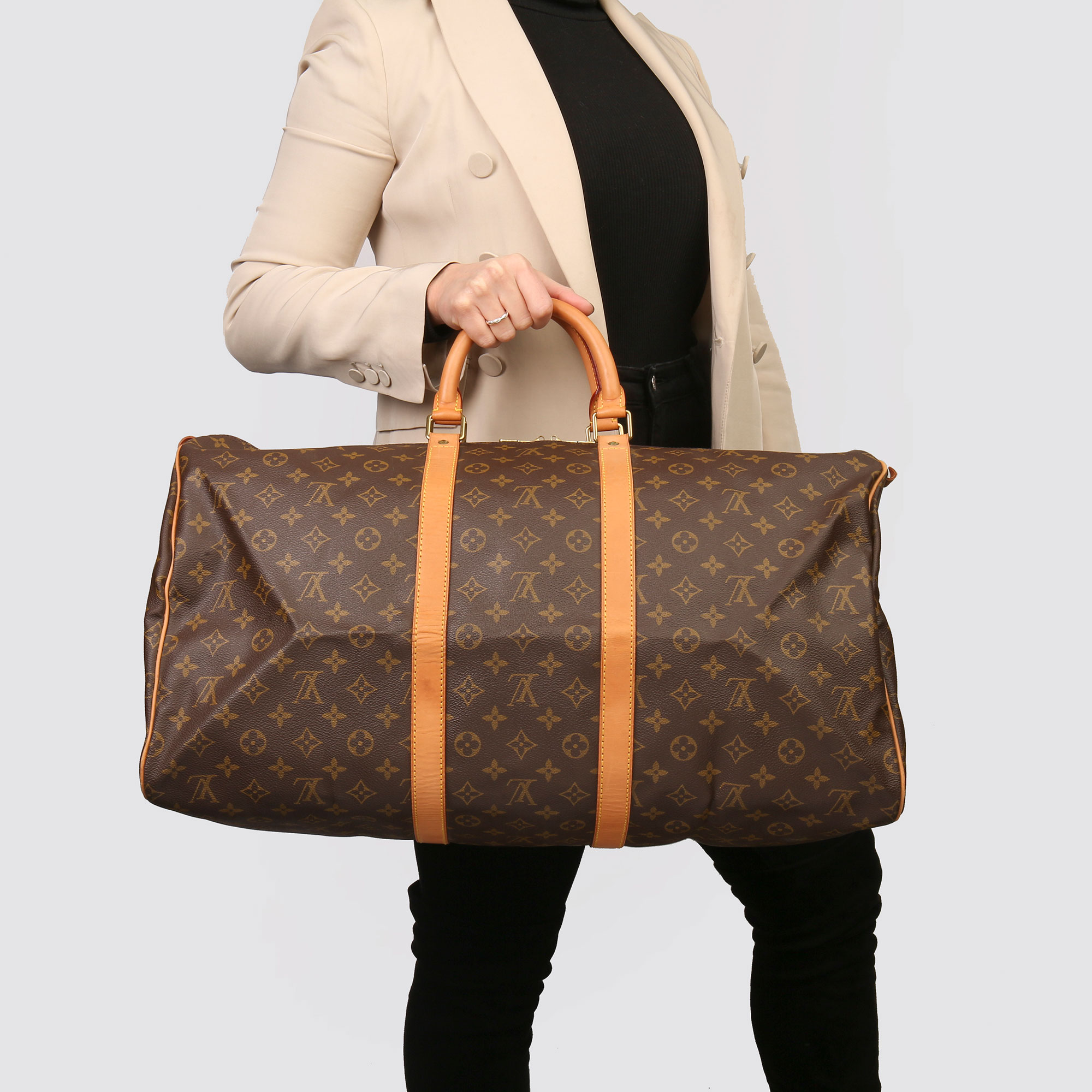 Louis Vuitton Brown Monogram Coated Canvas & Vachetta Leather Vintage Keepall 55 - Image 2 of 14