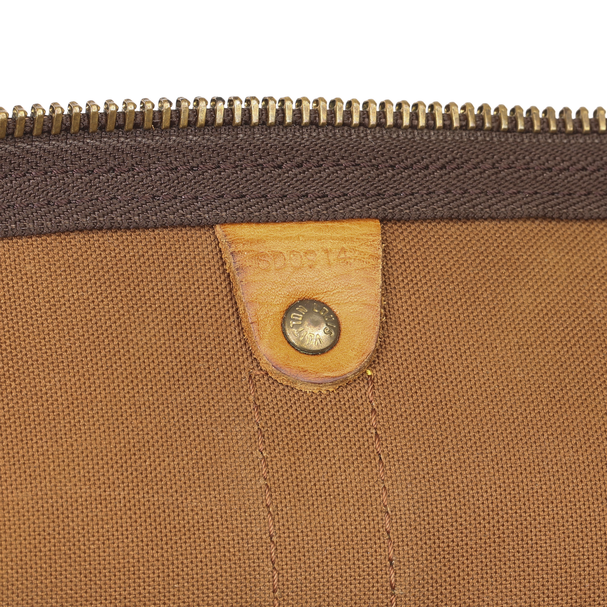 Louis Vuitton Brown Monogram Coated Canvas & Vachetta Leather Vintage Keepall 45 Bandoulire - Image 4 of 13