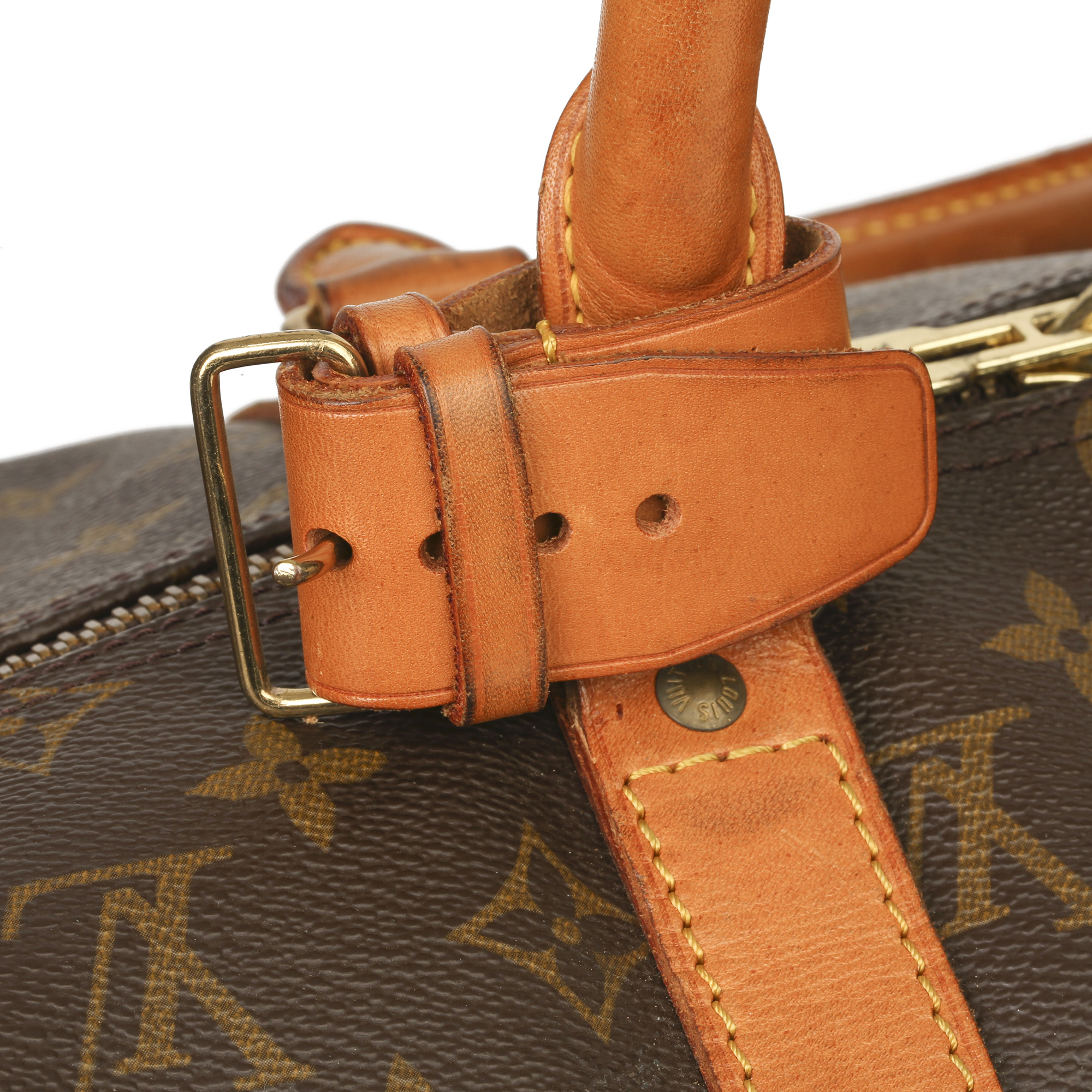Louis Vuitton Brown Monogram Coated Canvas & Vachetta Leather Vintage Keepall 45 Bandoulire - Image 7 of 13