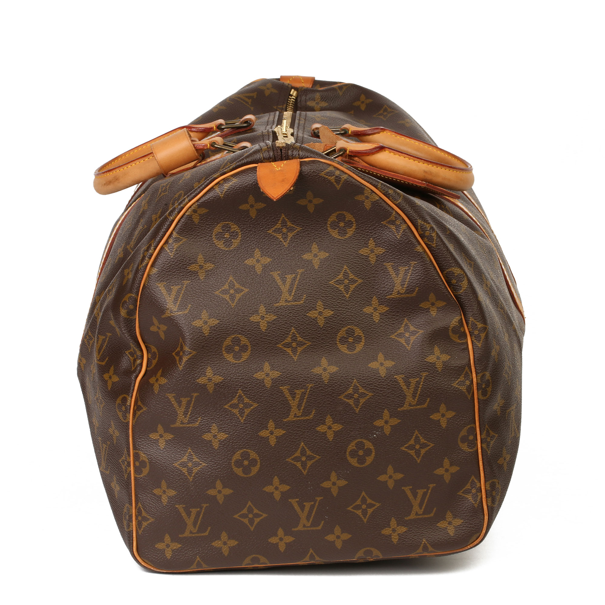 Louis Vuitton Brown Monogram Coated Canvas & Vachetta Leather Vintage Keepall 55 - Image 14 of 14