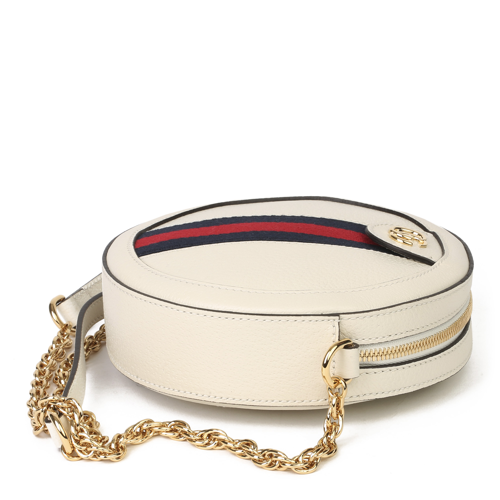 Gucci White Pigskin Leather Web Mini Round Orphidia Shoulder Bag - Image 10 of 11