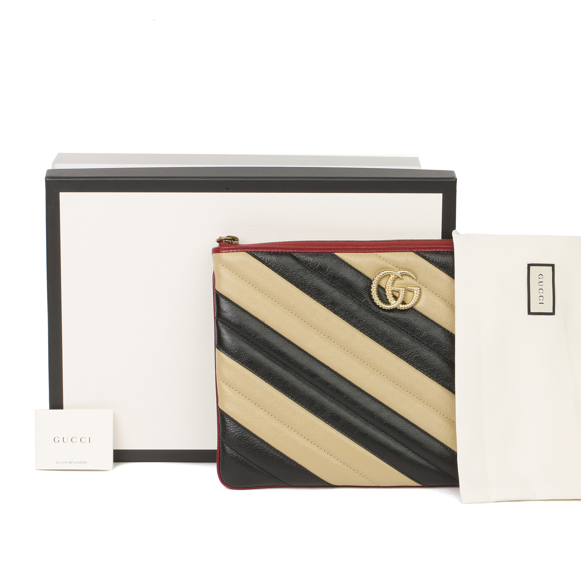 Gucci Black, Cream & Red Diagonal Quilted Aged Calfskin Leather Marmont Pouch - Image 2 of 11