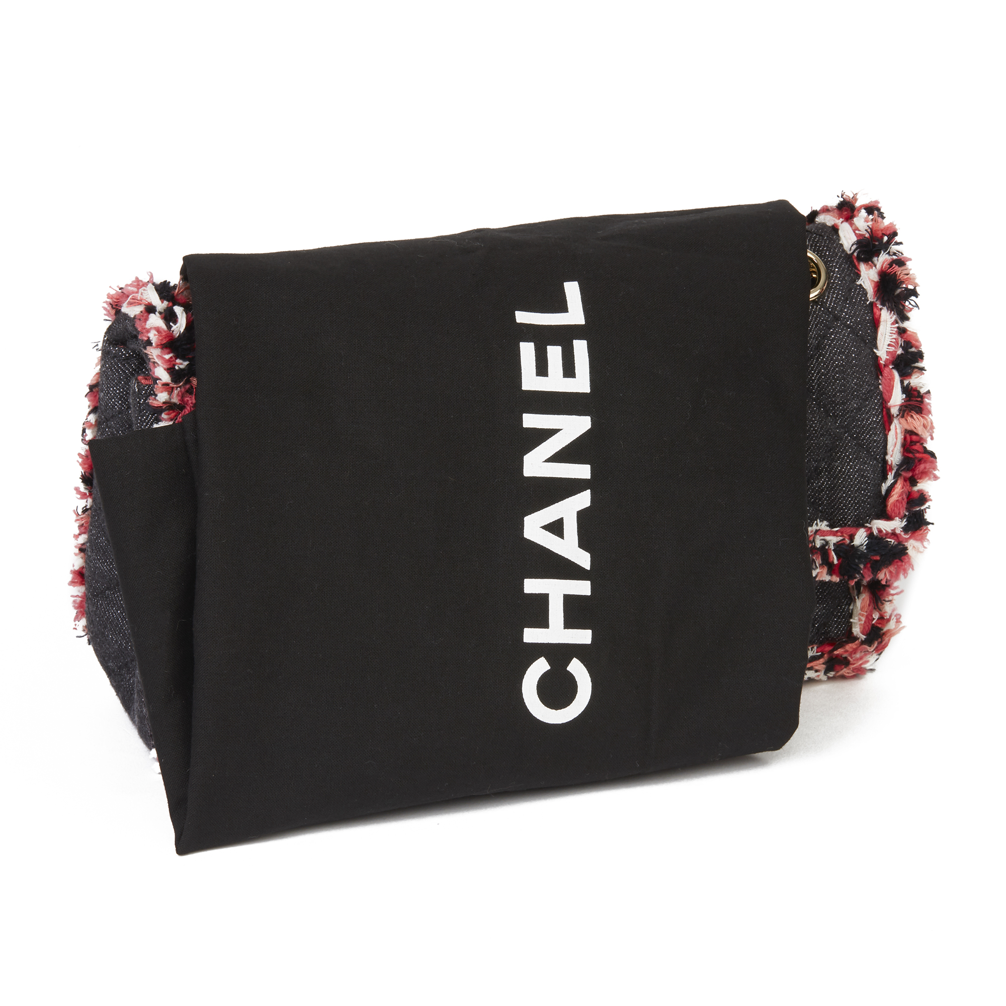 Chanel Black Quilted Denim & Pink Tweed 2.55 Reissue 225 Double Flap Bag - Image 3 of 12