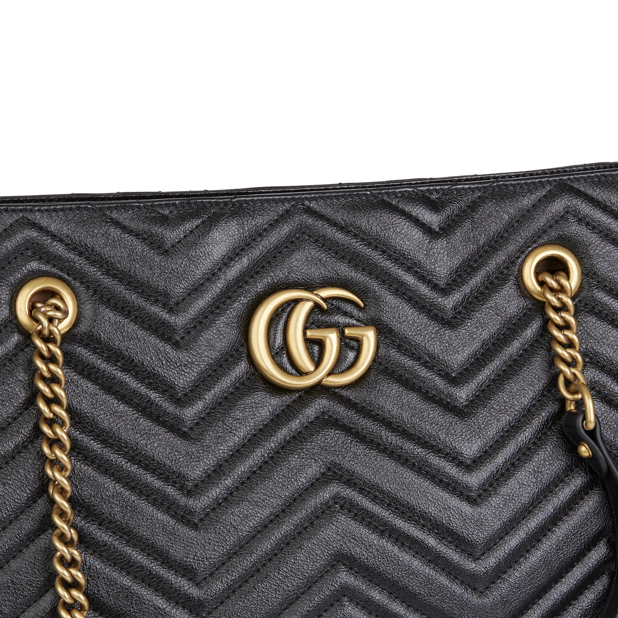 Gucci Black Quilted Shiny Calfskin Leather Marmont Shoulder Tote - Image 8 of 12
