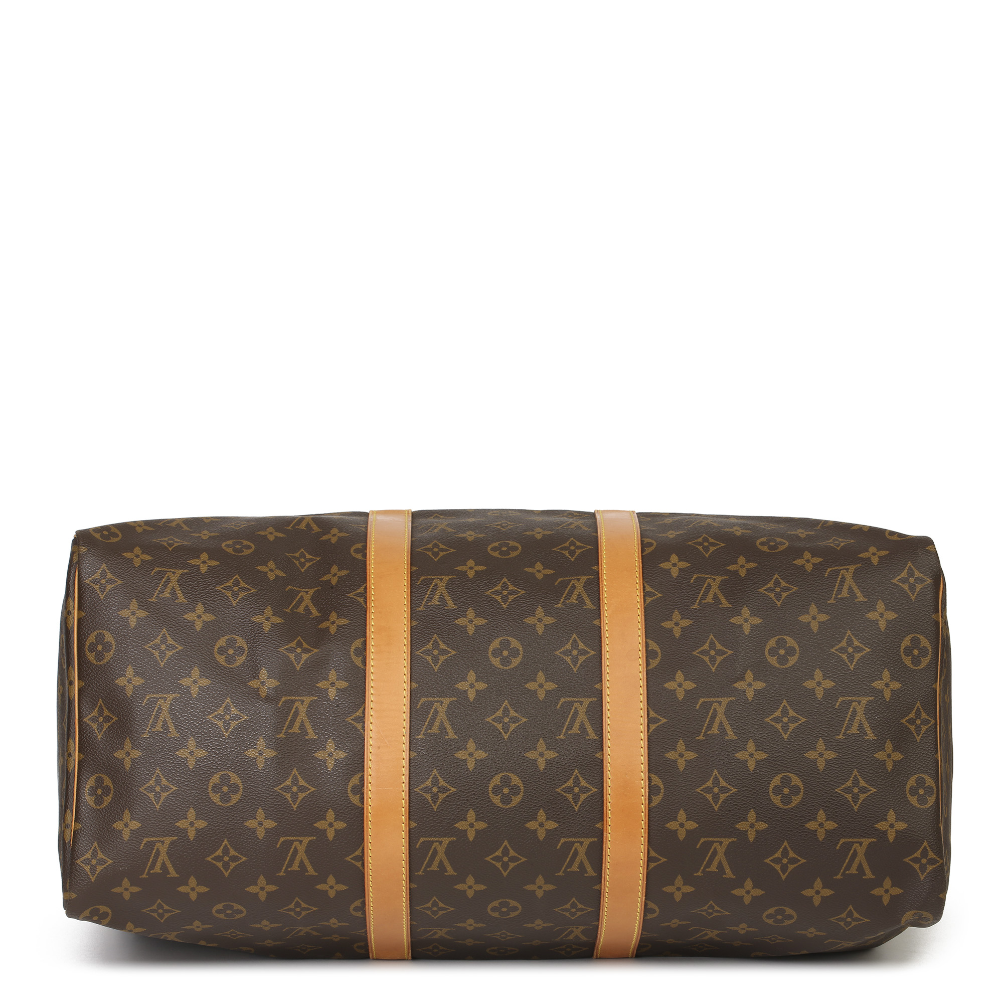 Louis Vuitton Brown Monogram Coated Canvas & Vachetta Leather Vintage Keepall 50 - Image 8 of 11