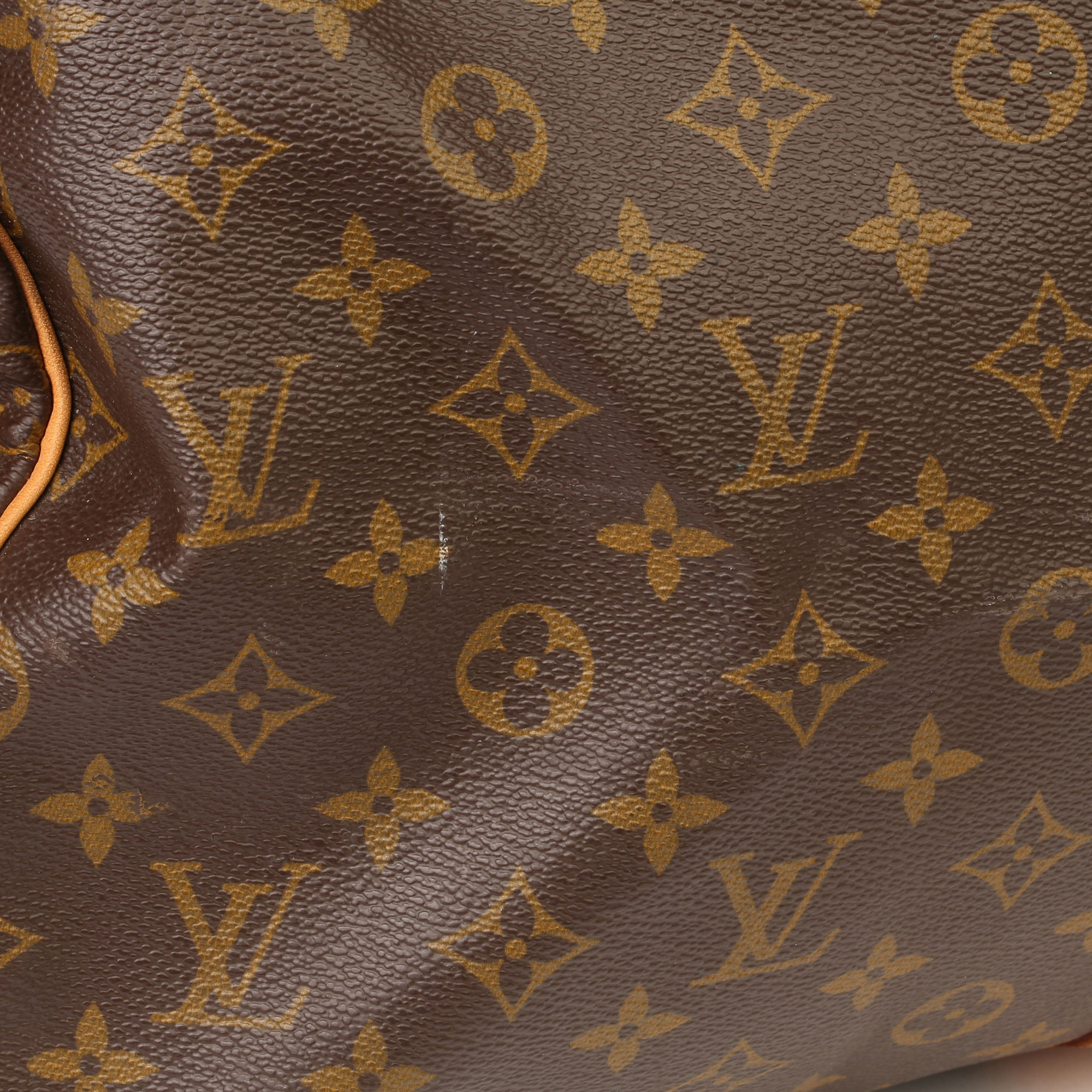 Louis Vuitton Brown Monogram Coated Canvas & Vachetta Leather Vintage Keepall 55 - Image 3 of 14
