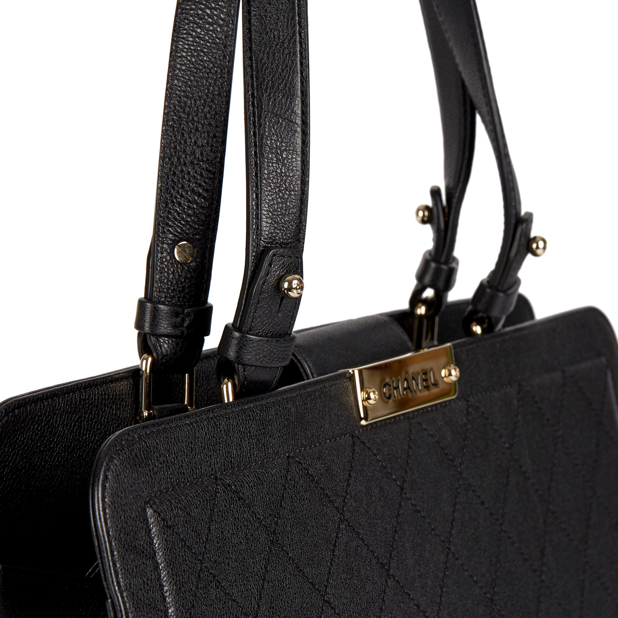 Chanel Black Quilted Calfskin Leather Large Label Click bidping Tote - Image 7 of 11